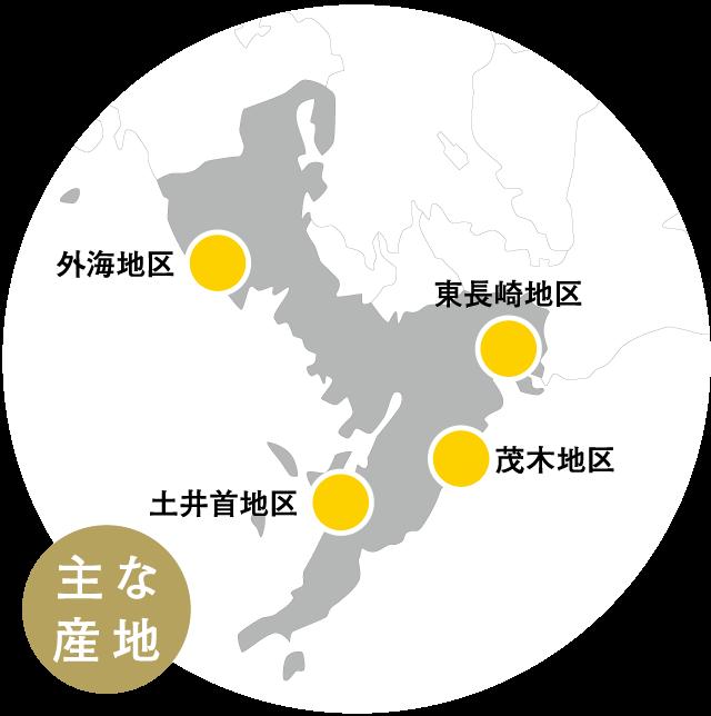 ゆうこうの主な産地MAP